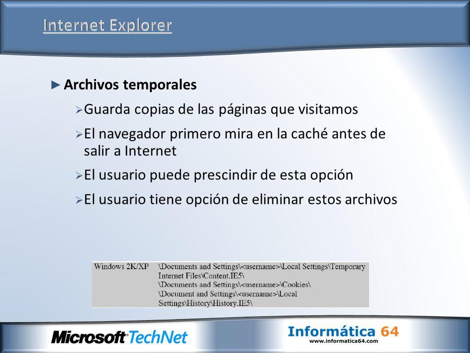Archivos temporales Guarda copias de las páginas que visitamos El navegador primero mira en la caché antes de salir a Internet El usuario puede prescindir de esta opción El usuario tiene opción de eliminar estos archivos