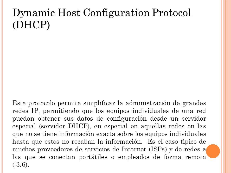 Dynamic Host Configuration Protocol (DHCP) Este protocolo permite simplificar la administración de grandes redes IP, permitiendo que los equipos indiv