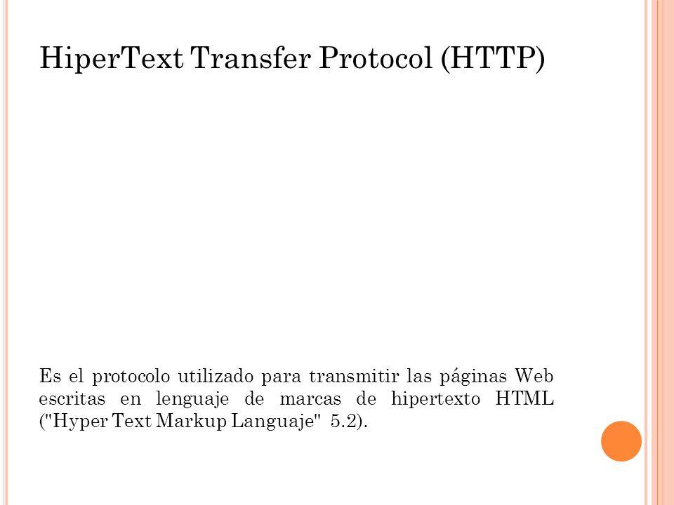 HiperText Transfer Protocol (HTTP) Es el protocolo utilizado para transmitir las páginas Web escritas en lenguaje de marcas de hipertexto HTML (