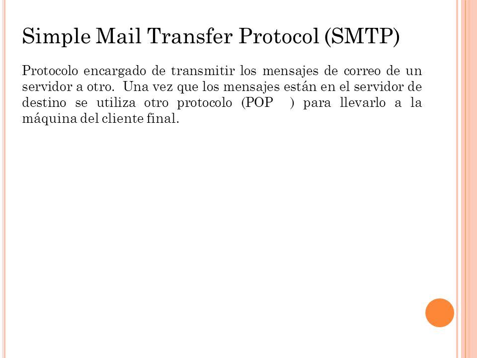 Simple Mail Transfer Protocol (SMTP) Protocolo encargado de transmitir los mensajes de correo de un servidor a otro. Una vez que los mensajes están en