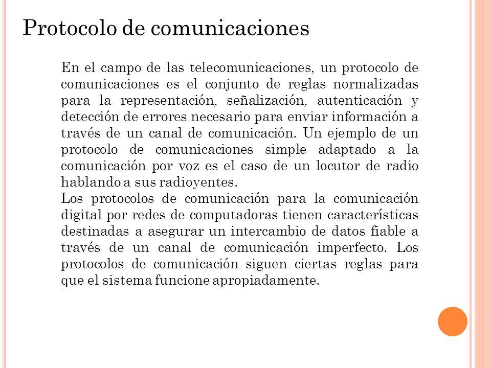 Protocolo de comunicaciones En el campo de las telecomunicaciones, un protocolo de comunicaciones es el conjunto de reglas normalizadas para la repres