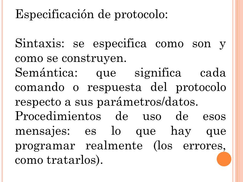 Especificación de protocolo: Sintaxis: se especifica como son y como se construyen. Semántica: que significa cada comando o respuesta del protocolo re