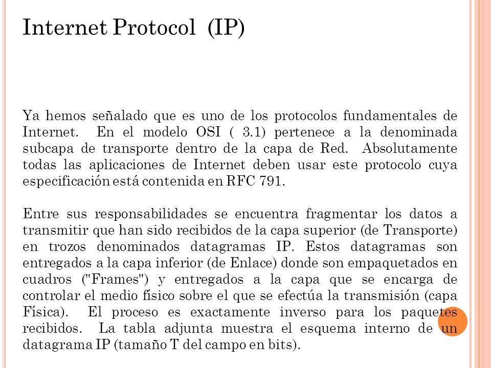 Internet Protocol (IP) Ya hemos señalado que es uno de los protocolos fundamentales de Internet. En el modelo OSI ( 3.1) pertenece a la denominada sub