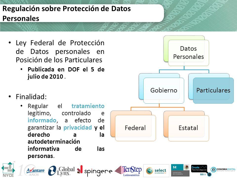 Datos Personales GobiernoFederalEstatalParticulares Regulación sobre Protección de Datos Personales Ley Federal de Protección de Datos personales en P