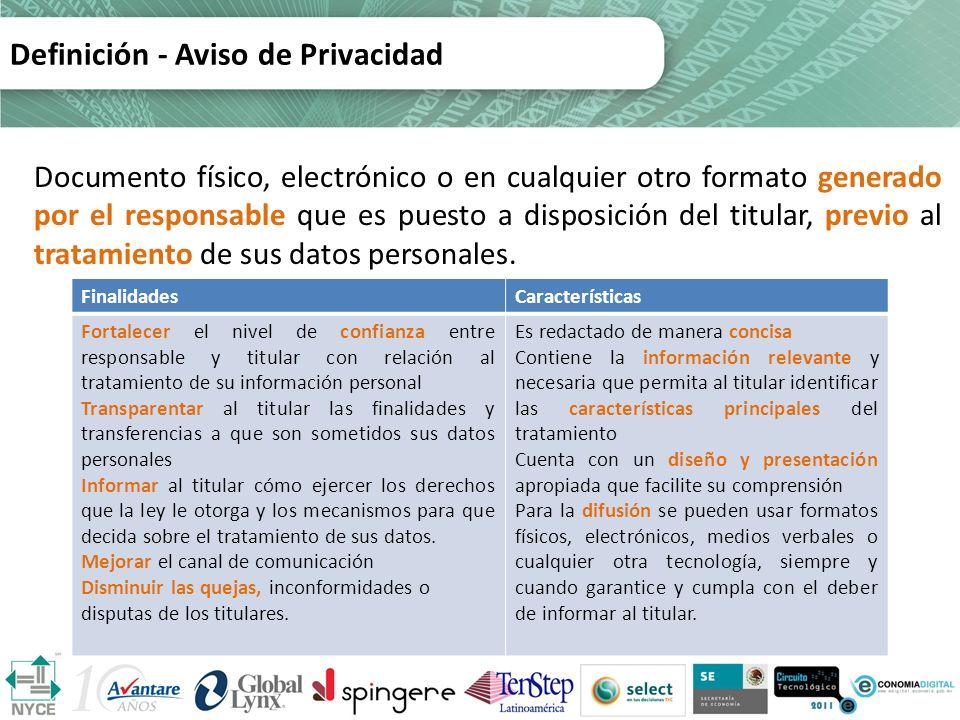 Definición - Aviso de Privacidad Documento físico, electrónico o en cualquier otro formato generado por el responsable que es puesto a disposición del