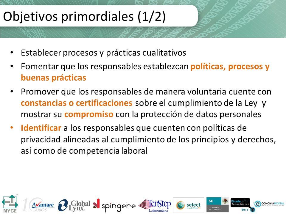 Objetivos primordiales (1/2) Establecer procesos y prácticas cualitativos Fomentar que los responsables establezcan políticas, procesos y buenas práct