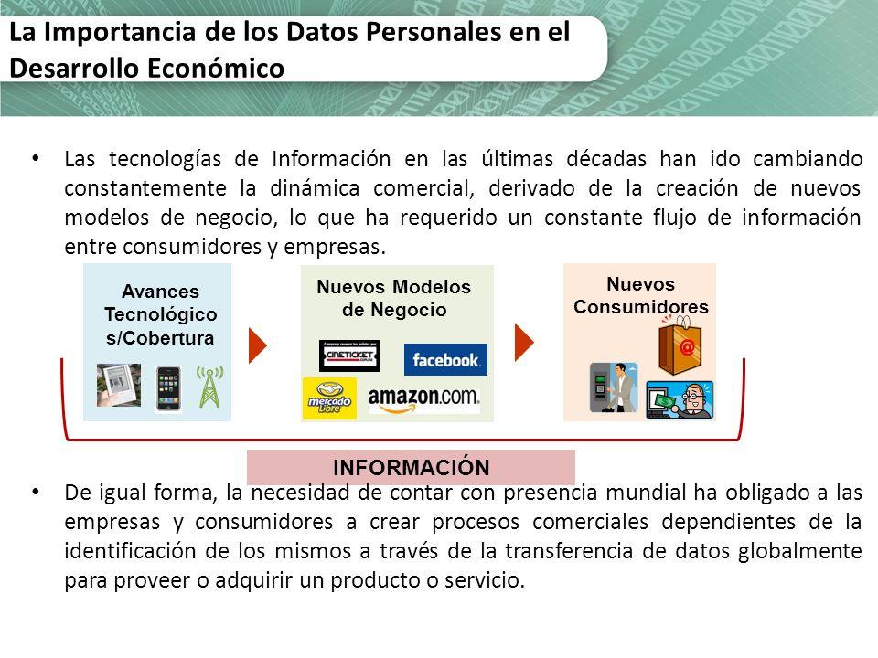 Avances Tecnológico s/Cobertura Nuevos Modelos de Negocio Nuevos Consumidores INFORMACIÓN La Importancia de los Datos Personales en el Desarrollo Econ