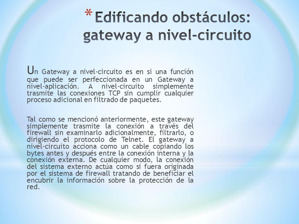 U n Gateway a nivel-circuito es en si una función que puede ser perfeccionada en un Gateway a nivel-aplicación. A nivel-circuito simplemente trasmite