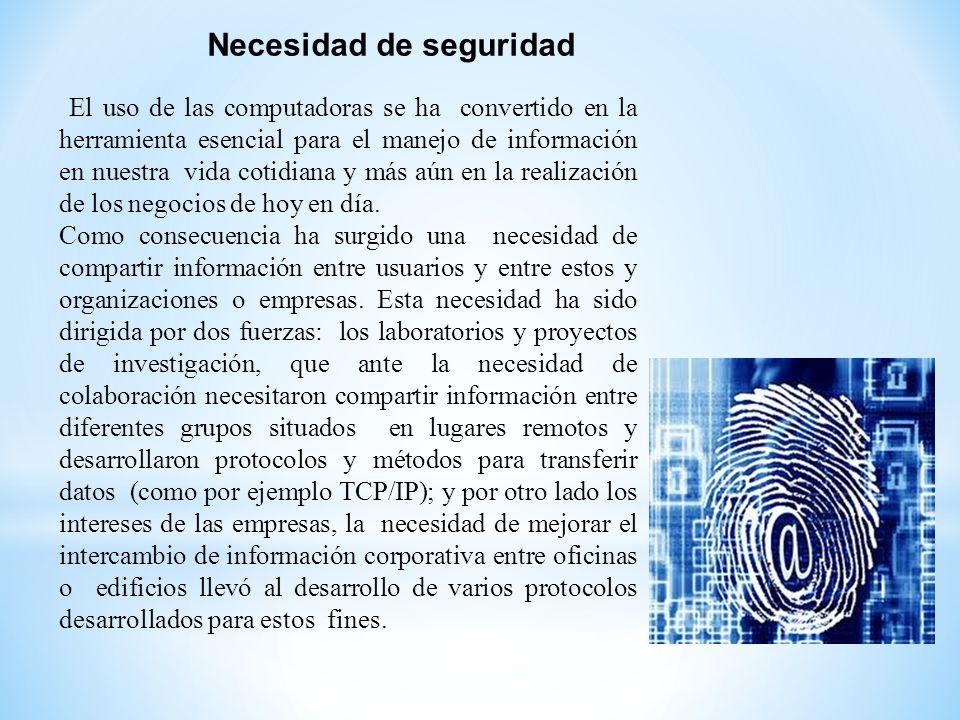 Necesidad de seguridad El uso de las computadoras se ha convertido en la herramienta esencial para el manejo de información en nuestra vida cotidiana