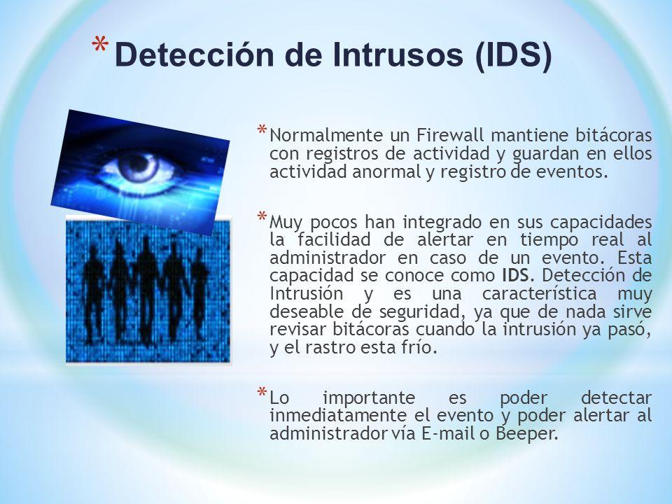 * Detección de Intrusos (IDS) * Normalmente un Firewall mantiene bitácoras con registros de actividad y guardan en ellos actividad anormal y registro