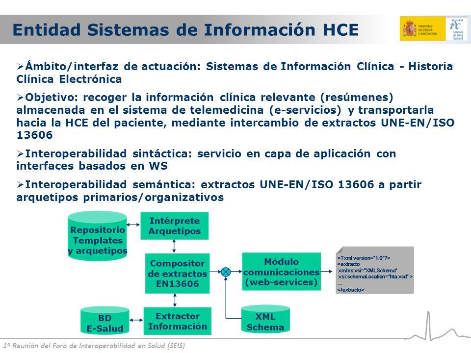 1º Reunión del Foro de Interoperabilidad en Salud (SEIS) Entidad Sistemas de Información HCE Ámbito/interfaz de actuación: Sistemas de Información Clínica - Historia Clínica Electrónica Objetivo: recoger la información clínica relevante (resúmenes) almacenada en el sistema de telemedicina (e-servicios) y transportarla hacia la HCE del paciente, mediante intercambio de extractos UNE-EN/ISO 13606 Interoperabilidad sintáctica: servicio en capa de aplicación con interfaces basados en WS Interoperabilidad semántica: extractos UNE-EN/ISO 13606 a partir arquetipos primarios/organizativos