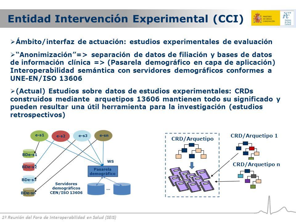 1º Reunión del Foro de Interoperabilidad en Salud (SEIS) Entidad Intervención Experimental (CCI) Ámbito/interfaz de actuación: estudios experimentales de evaluación Anonimización=> separación de datos de filiación y bases de datos de información clínica => (Pasarela demográfico en capa de aplicación) Interoperabilidad semántica con servidores demográficos conformes a UNE-EN/ISO 13606 (Actual) Estudios sobre datos de estudios experimentales: CRDs construidos mediante arquetipos 13606 mantienen todo su significado y pueden resultar una útil herramienta para la investigación (estudios retrospectivos) CRD/Arquetipo CRD/Arquetipo 1 CRD/Arquetipo n