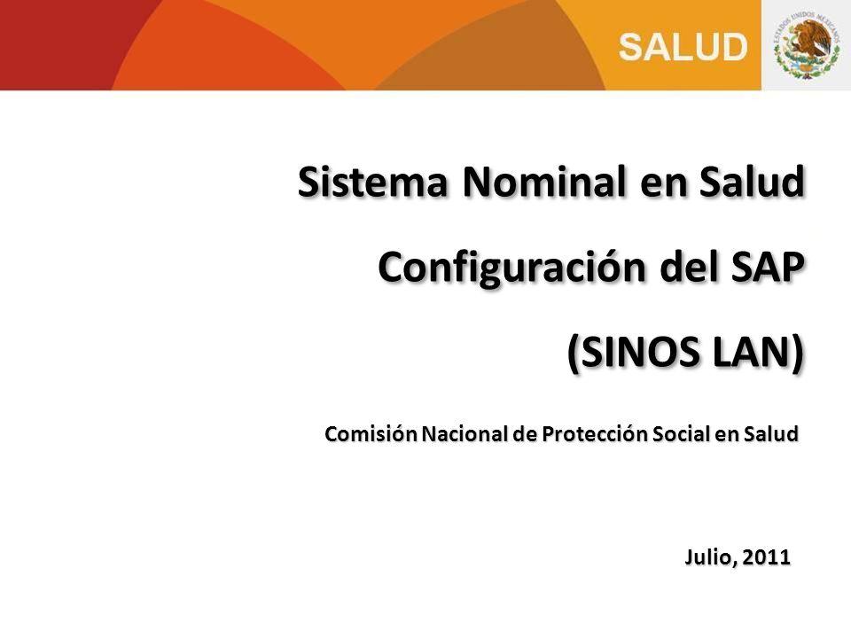 Julio, 2011 Sistema Nominal en Salud Configuración del SAP (SINOS LAN) Sistema Nominal en Salud Configuración del SAP (SINOS LAN) Comisión Nacional de