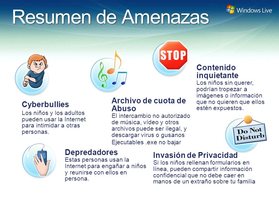 Windows Live Hotmail FY 07 Marketing Strategy Update Depredadores Estas personas usan la Internet para engañar a niños y reunirse con ellos en persona.