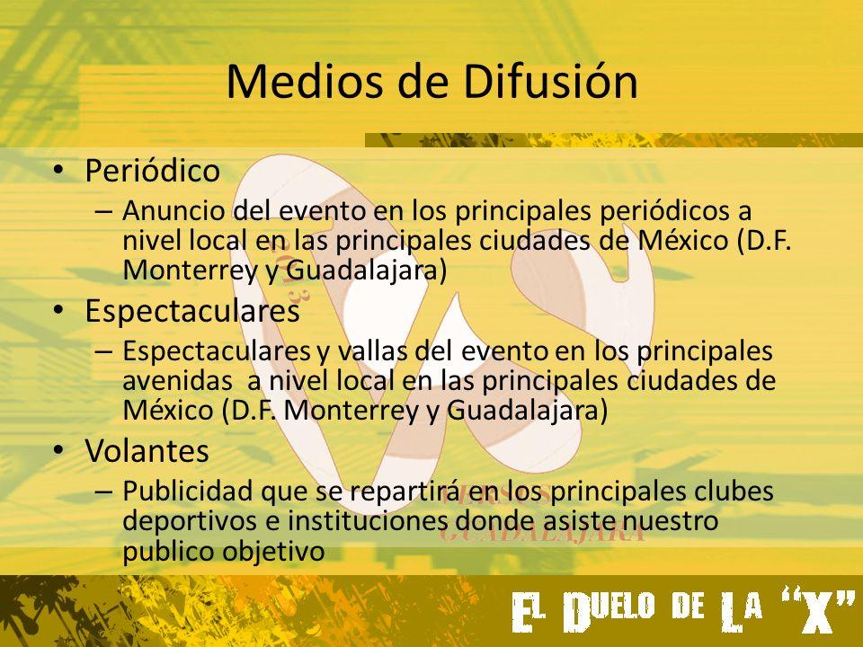 Medios de Difusión Periódico – Anuncio del evento en los principales periódicos a nivel local en las principales ciudades de México (D.F.
