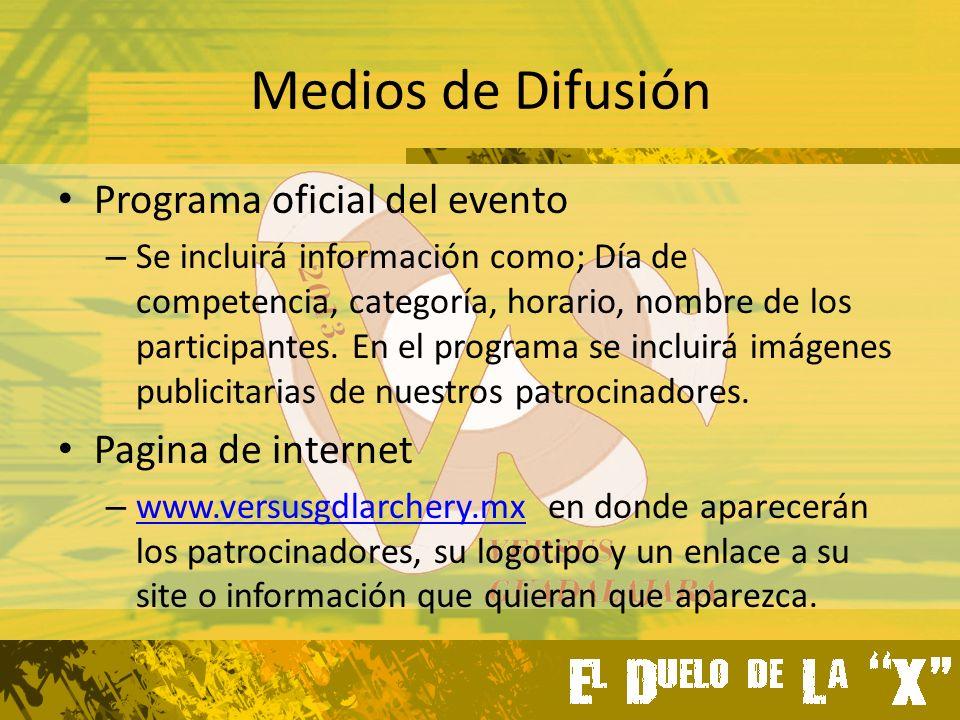 Medios de Difusión Programa oficial del evento – Se incluirá información como; Día de competencia, categoría, horario, nombre de los participantes.