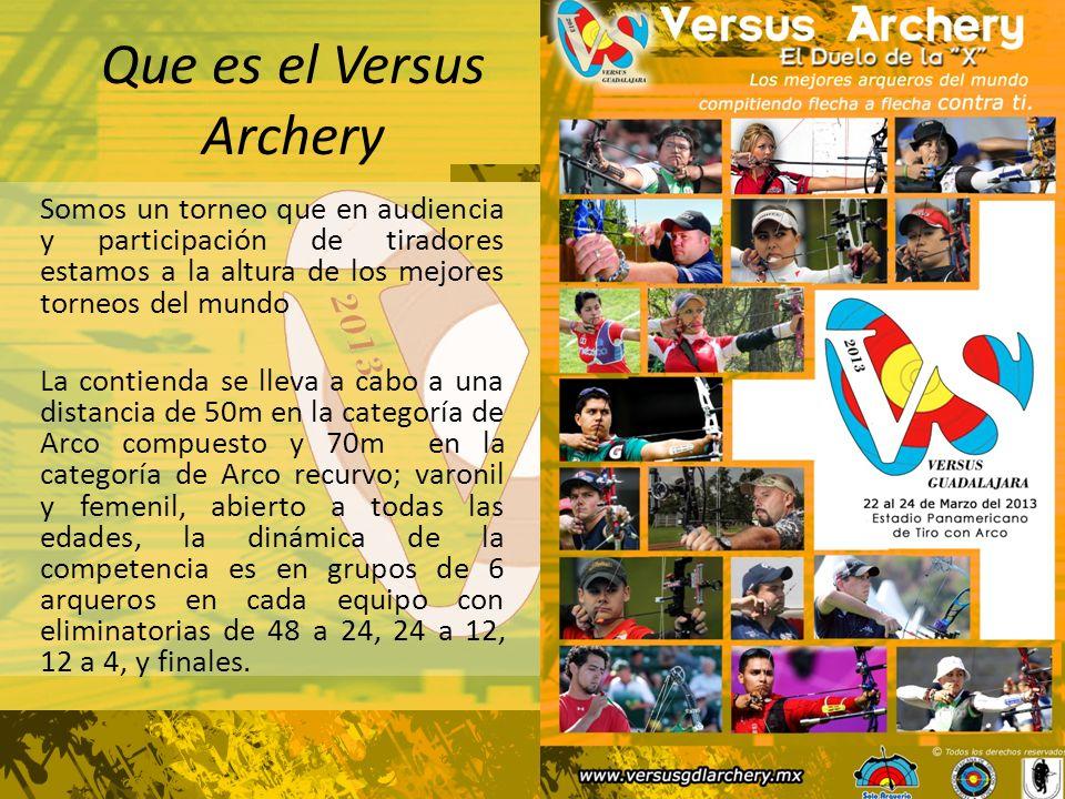 Que es el Versus Archery Somos un torneo que en audiencia y participación de tiradores estamos a la altura de los mejores torneos del mundo La contienda se lleva a cabo a una distancia de 50m en la categoría de Arco compuesto y 70m en la categoría de Arco recurvo; varonil y femenil, abierto a todas las edades, la dinámica de la competencia es en grupos de 6 arqueros en cada equipo con eliminatorias de 48 a 24, 24 a 12, 12 a 4, y finales.