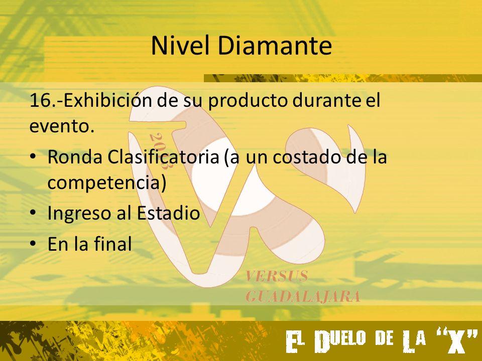 Nivel Diamante 16.-Exhibición de su producto durante el evento.