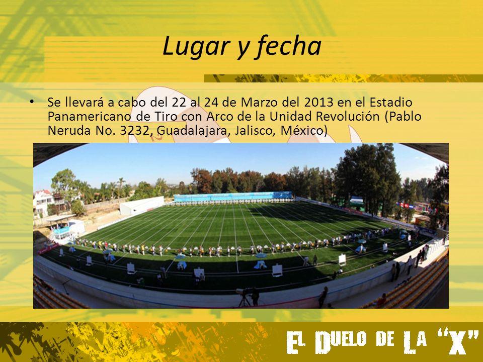 Lugar y fecha Se llevará a cabo del 22 al 24 de Marzo del 2013 en el Estadio Panamericano de Tiro con Arco de la Unidad Revolución (Pablo Neruda No.