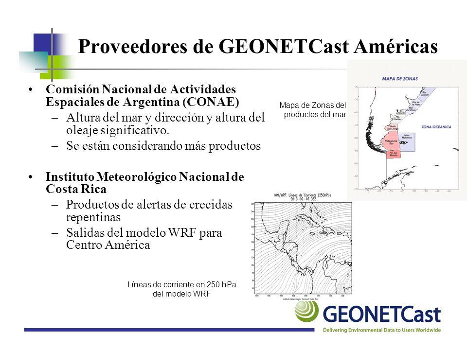 Proveedores de GEONETCast Américas Comisión Nacional de Actividades Espaciales de Argentina (CONAE) –Altura del mar y dirección y altura del oleaje si