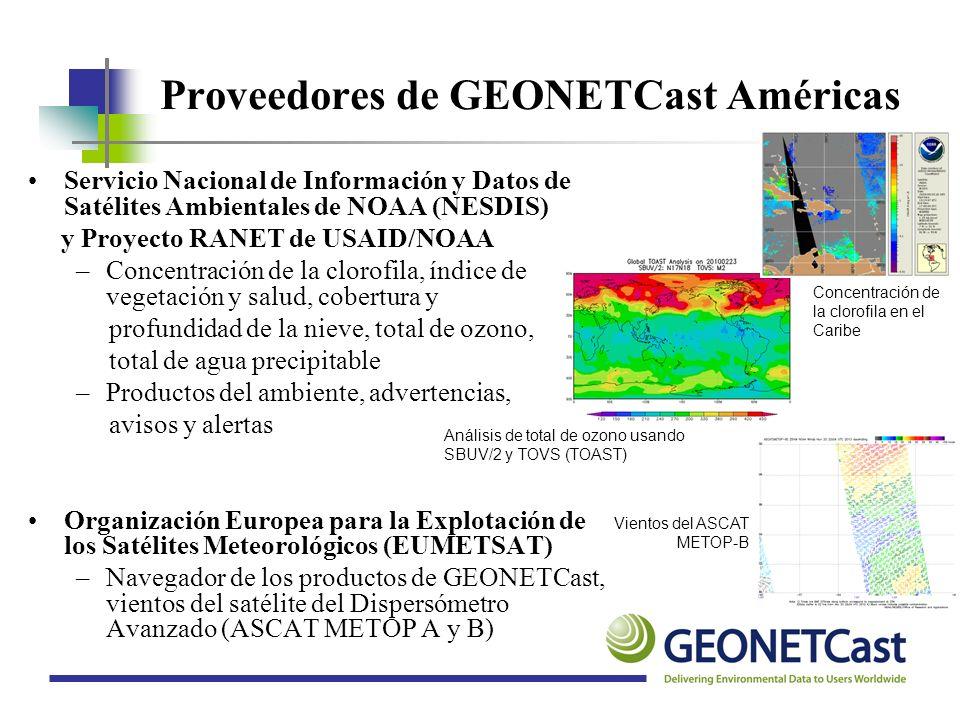 Proveedores de GEONETCast Américas Servicio Nacional de Información y Datos de Satélites Ambientales de NOAA (NESDIS) y Proyecto RANET de USAID/NOAA –