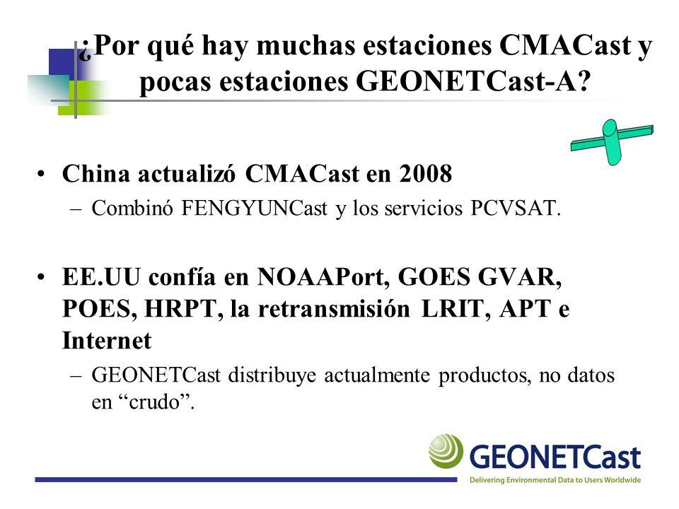 ¿Por qué hay muchas estaciones CMACast y pocas estaciones GEONETCast-A? China actualizó CMACast en 2008 –Combinó FENGYUNCast y los servicios PCVSAT. E