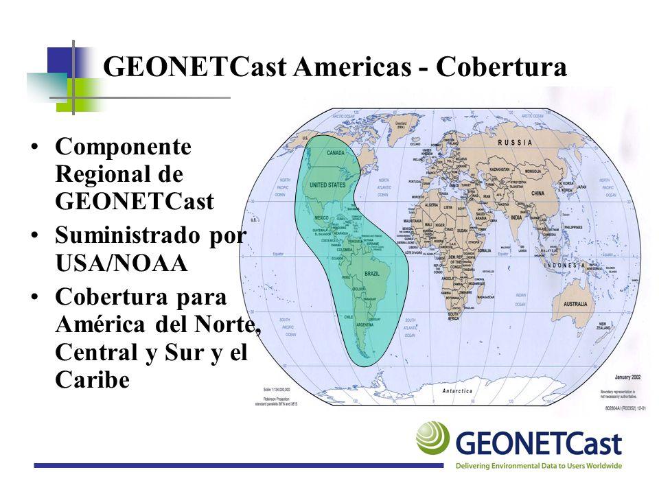 GEONETCast Americas - Transmisión Coverage Area: Purple Isolines Velocidad de los datos de 2 megabits por segundo Opciones para expandirlo a 12 Megabits Satélite geoestacionario Intelsat-21 (IS-21) Transpondedor DVB-S Multiplexado de banda C en 58 grados O Disponibilidad >99.5%
