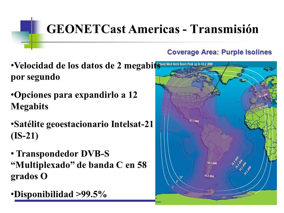 GEONETCast Americas - Transmisión Coverage Area: Purple Isolines Velocidad de los datos de 2 megabits por segundo Opciones para expandirlo a 12 Megabi
