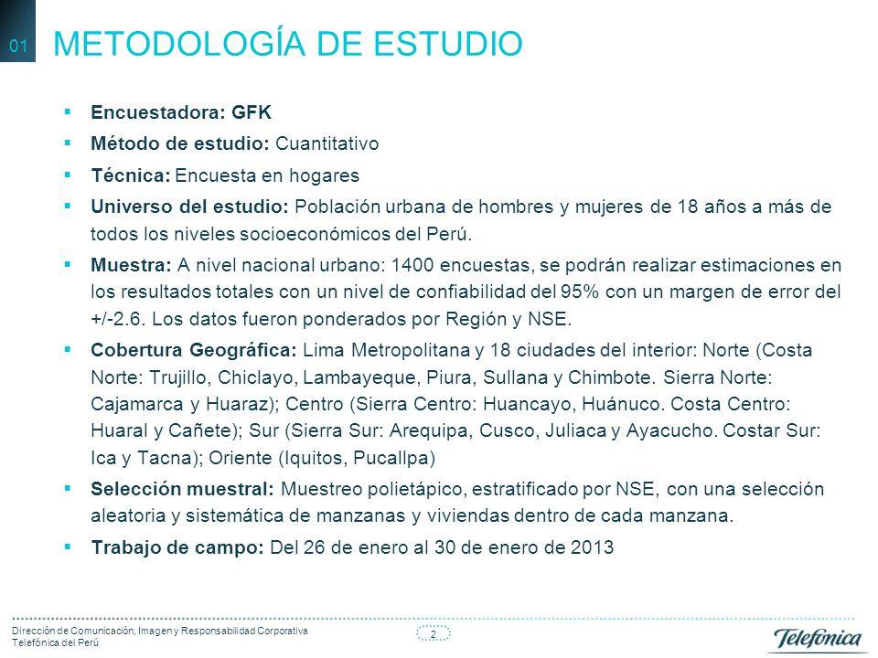 3 Dirección de Comunicación, Imagen y Responsabilidad Corporativa Telefónica del Perú ¿Considera que Telefónica ha contribuido al crecimiento del país con la ampliación de la red celular e internet.