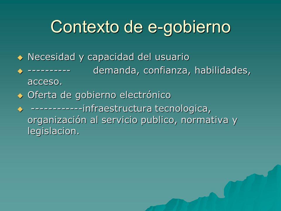 Contexto de e-gobierno Necesidad y capacidad del usuario Necesidad y capacidad del usuario ---------- demanda, confianza, habilidades, acceso.