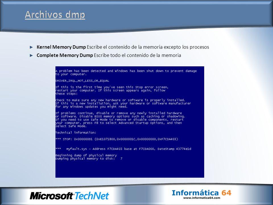 Kernel Memory Dump Escribe el contenido de la memoria excepto los procesos Complete Memory Dump Escribe todo el contenido de la memoria