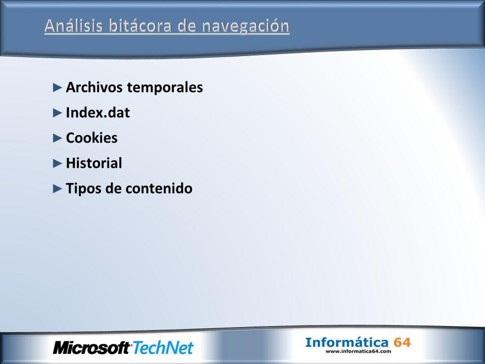 Archivos temporales Index.dat Cookies Historial Tipos de contenido