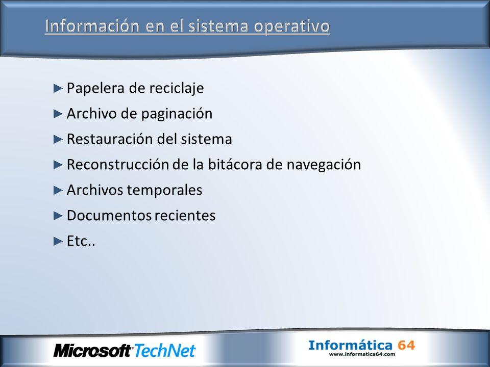 Papelera de reciclaje Archivo de paginación Restauración del sistema Reconstrucción de la bitácora de navegación Archivos temporales Documentos recientes Etc..