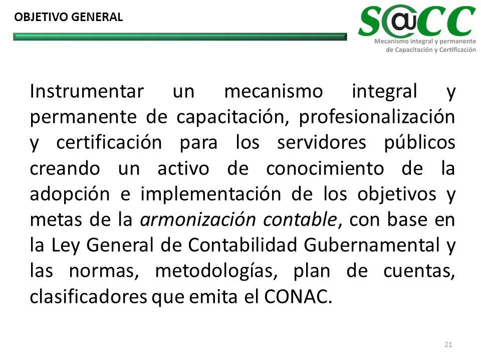 OBJETIVO GENERAL Instrumentar un mecanismo integral y permanente de capacitación, profesionalización y certificación para los servidores públicos crea