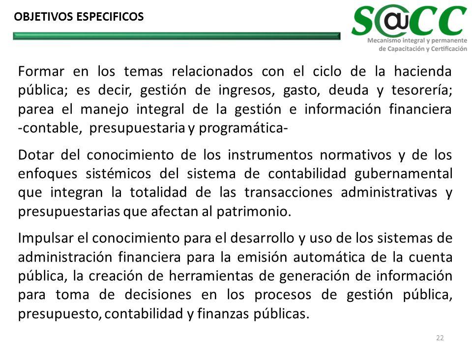 Formar en los temas relacionados con el ciclo de la hacienda pública; es decir, gestión de ingresos, gasto, deuda y tesorería; parea el manejo integra