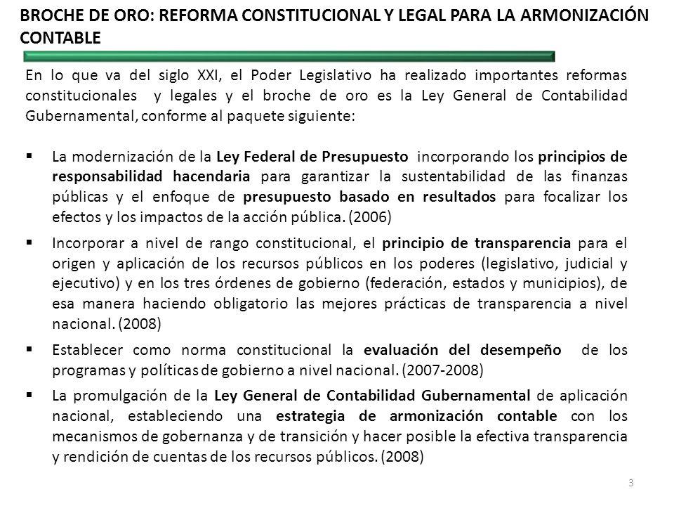 BROCHE DE ORO: REFORMA CONSTITUCIONAL Y LEGAL PARA LA ARMONIZACIÓN CONTABLE En lo que va del siglo XXI, el Poder Legislativo ha realizado importantes