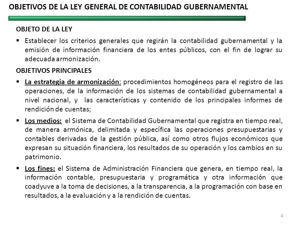 OBJETO DE LA LEY Establecer los criterios generales que regirán la contabilidad gubernamental y la emisión de información financiera de los entes públ