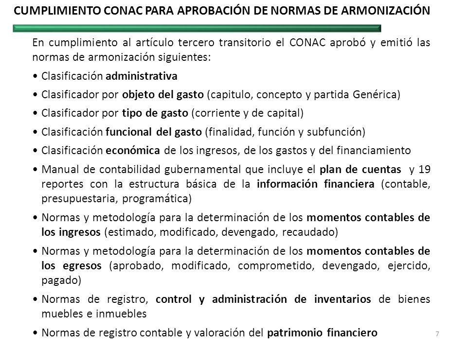 CUMPLIMIENTO CONAC PARA APROBACIÓN DE NORMAS DE ARMONIZACIÓN En cumplimiento al artículo tercero transitorio el CONAC aprobó y emitió las normas de ar