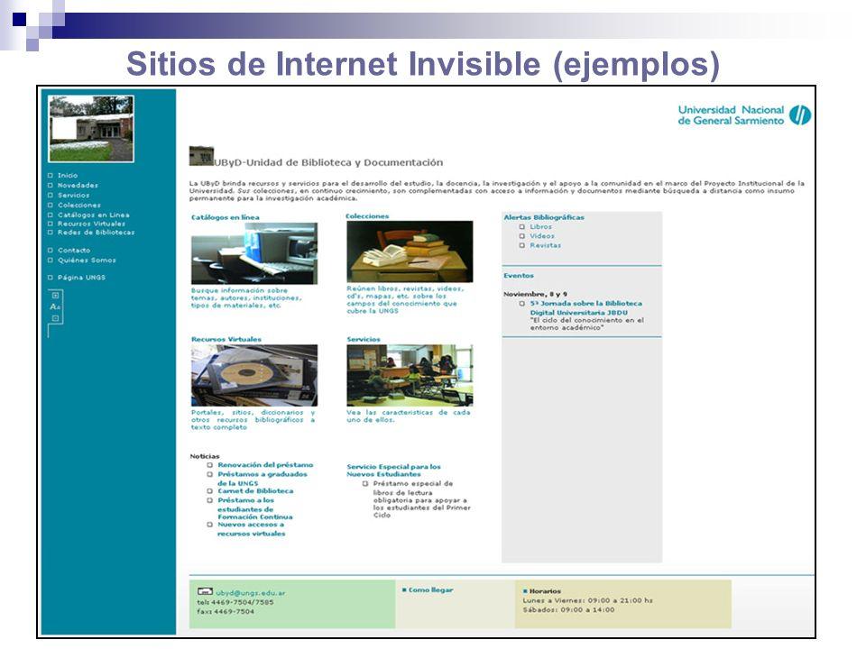 Sitios de Internet Invisible (ejemplos)