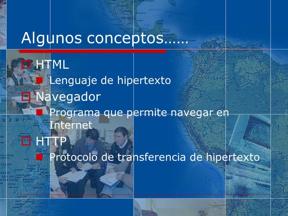 Algunos conceptos…… HTML Lenguaje de hipertexto Navegador Programa que permite navegar en Internet HTTP Protocolo de transferencia de hipertexto