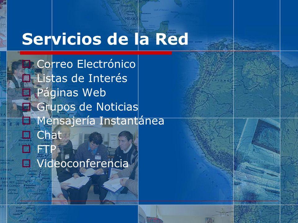 Servicios de la Red Correo Electrónico Listas de Interés Páginas Web Grupos de Noticias Mensajería Instantánea Chat FTP Videoconferencia