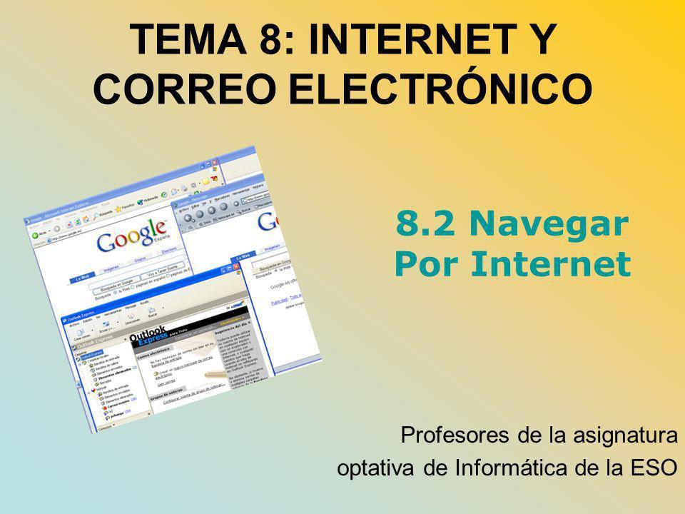 TEMA 8: INTERNET Y CORREO ELECTRÓNICO Profesores de la asignatura optativa de Informática de la ESO 8.2 Navegar Por Internet