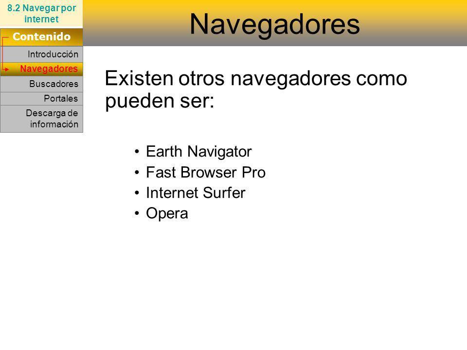 Netscape Internet Explorer Navegadores 8.2 Navegar por internet Contenido Introducción Portales Descarga de información Buscadores Existen otros naveg