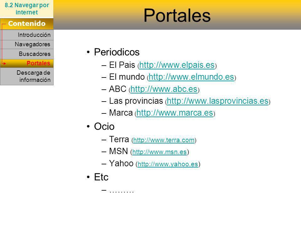 Portales Navegadores Buscadores Periodicos –El Pais ( http://www.elpais.es ) http://www.elpais.es –El mundo ( http://www.elmundo.es ) http://www.elmun