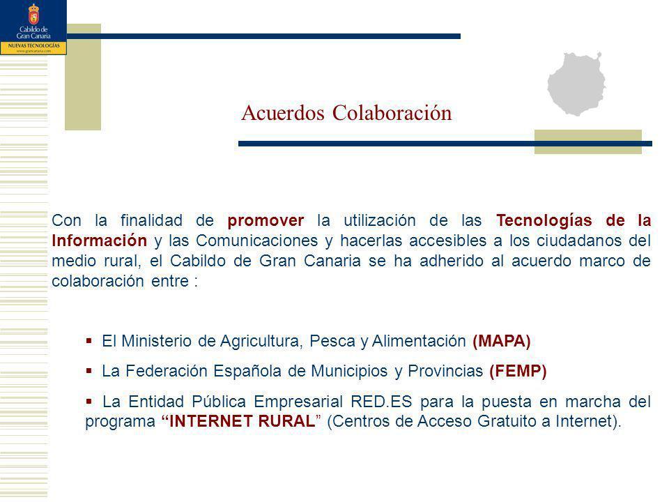 Con la finalidad de promover la utilización de las Tecnologías de la Información y las Comunicaciones y hacerlas accesibles a los ciudadanos del medio rural, el Cabildo de Gran Canaria se ha adherido al acuerdo marco de colaboración entre : El Ministerio de Agricultura, Pesca y Alimentación (MAPA) La Federación Española de Municipios y Provincias (FEMP) La Entidad Pública Empresarial RED.ES para la puesta en marcha del programa INTERNET RURAL (Centros de Acceso Gratuito a Internet).