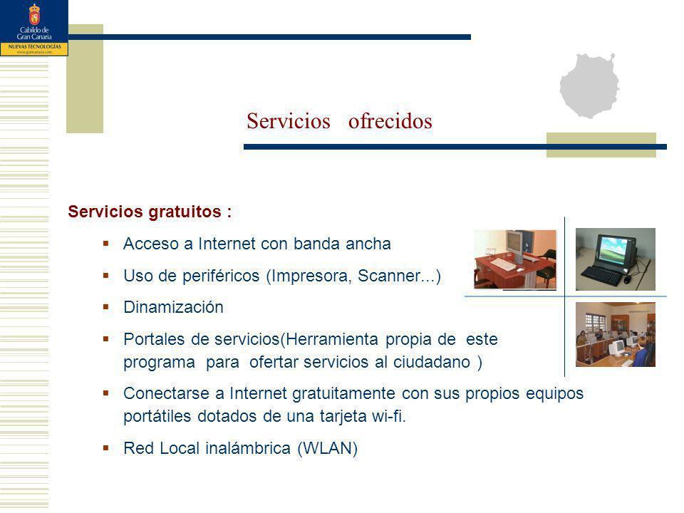 Servicios gratuitos : Acceso a Internet con banda ancha Uso de periféricos (Impresora, Scanner...) Dinamización Portales de servicios(Herramienta prop