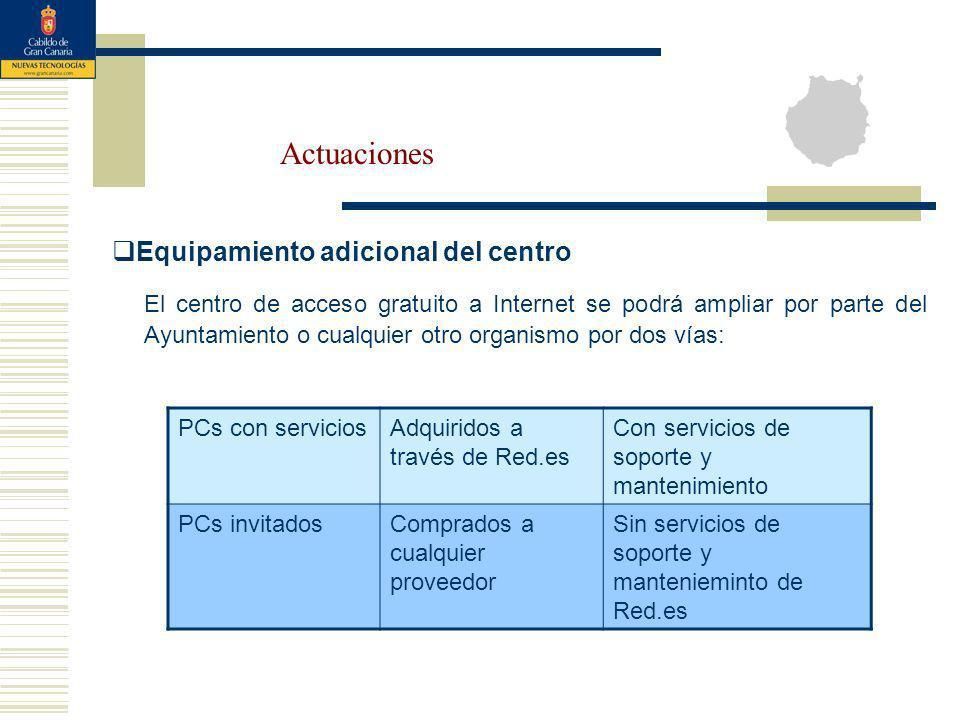 Actuaciones Equipamiento adicional del centro El centro de acceso gratuito a Internet se podrá ampliar por parte del Ayuntamiento o cualquier otro org
