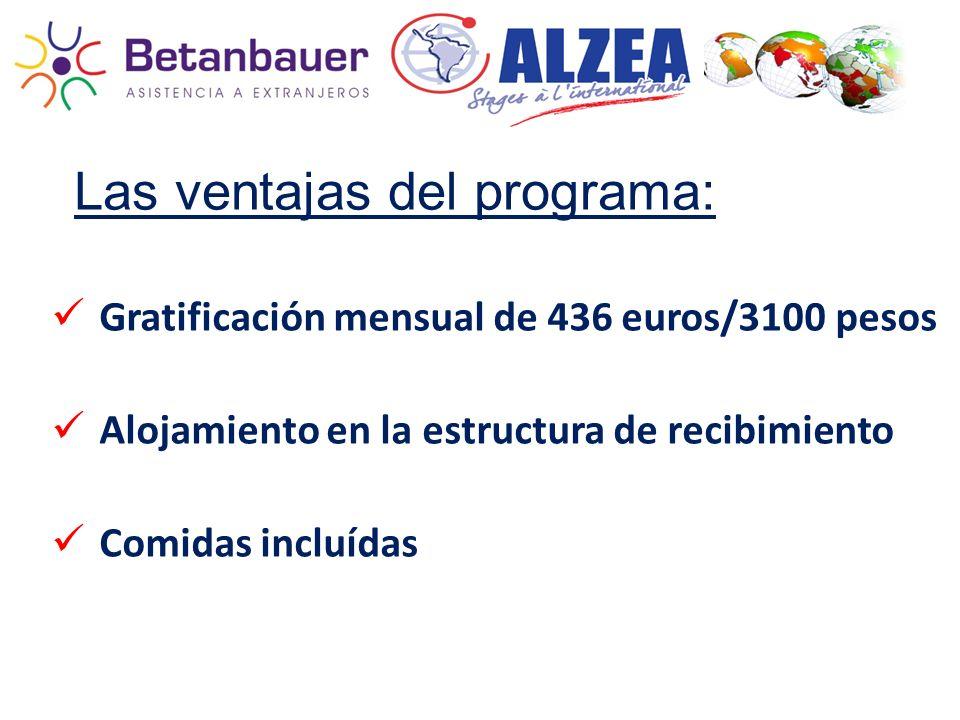 Las ventajas del programa: Gratificación mensual de 436 euros/3100 pesos Alojamiento en la estructura de recibimiento Comidas incluídas