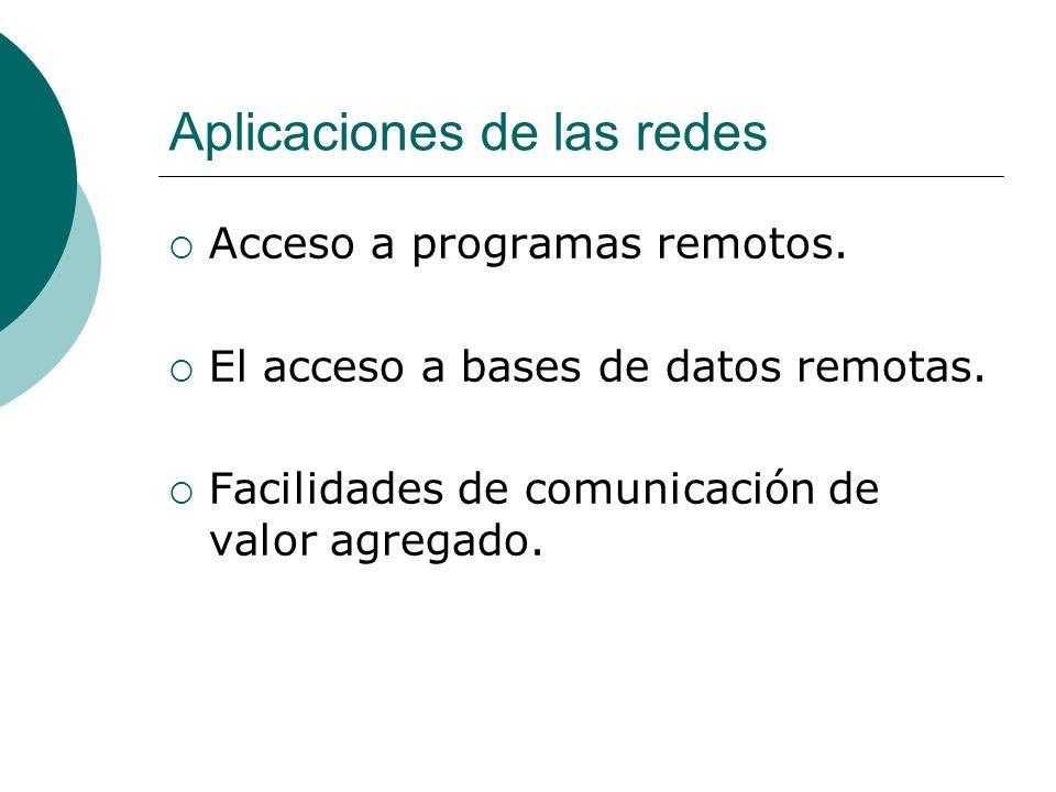 Aplicaciones de las redes Acceso a programas remotos.