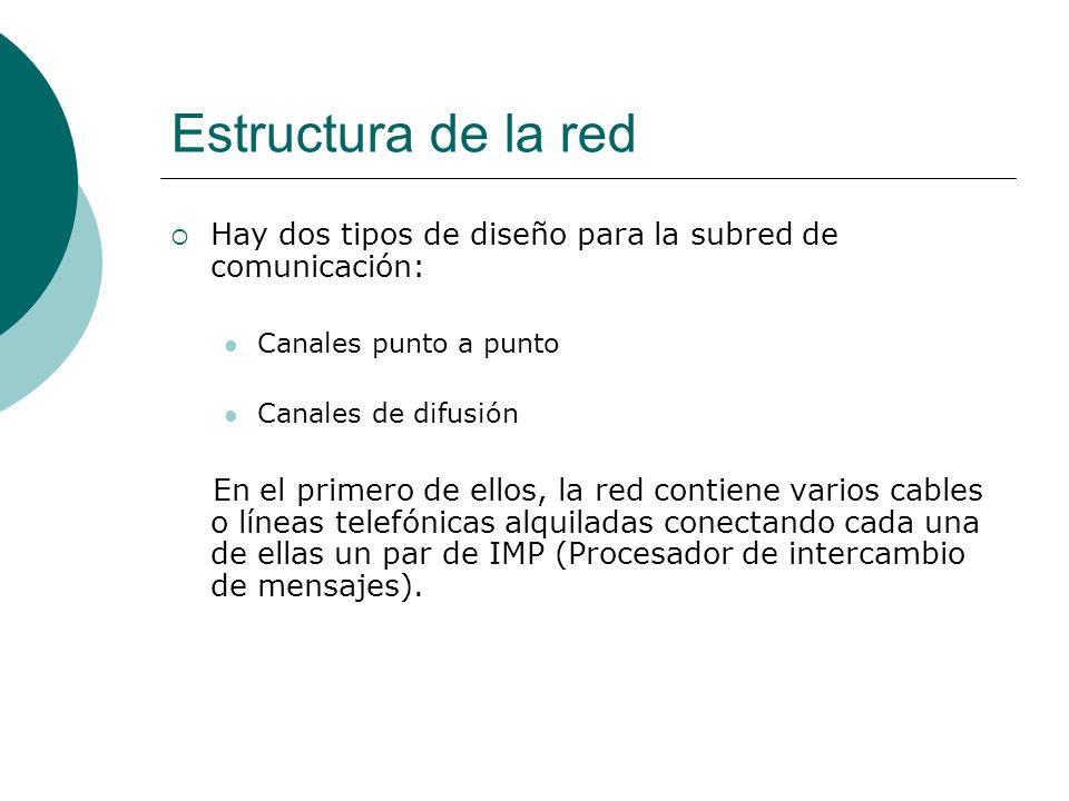 Estructura de la red Hay dos tipos de diseño para la subred de comunicación: Canales punto a punto Canales de difusión En el primero de ellos, la red contiene varios cables o líneas telefónicas alquiladas conectando cada una de ellas un par de IMP (Procesador de intercambio de mensajes).
